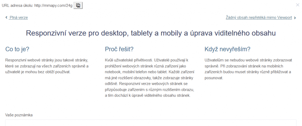 Detail úkolů - Návod pro použití obrazovky | Marketing mapy