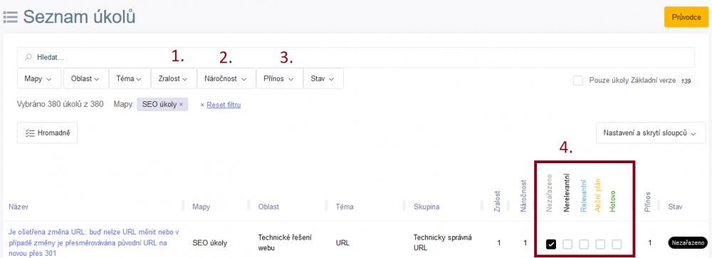 Jak používat obrazovku Seznam úkolů | Marketing Mapy